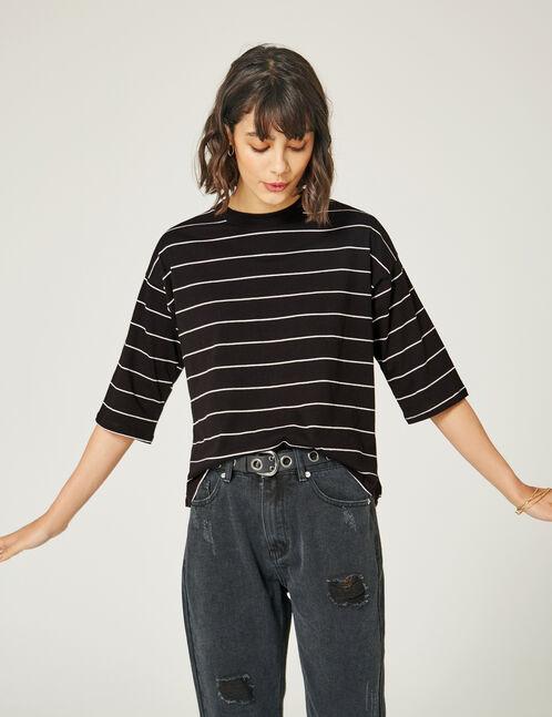 tee-shirt fines rayures noir et écru