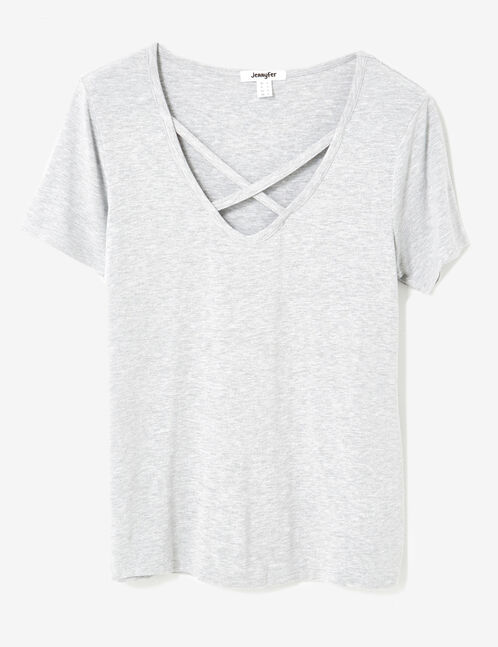 Grey marl T-shirt with strappy detail