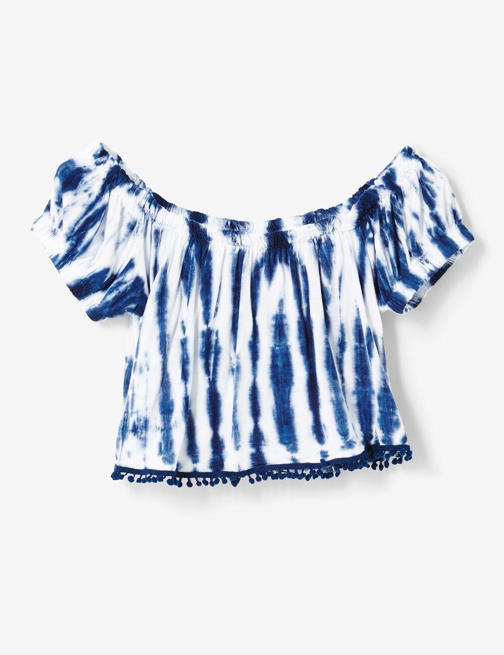 crop top tie and dye bleu et cru femme jennyfer. Black Bedroom Furniture Sets. Home Design Ideas