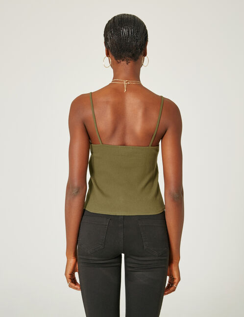 Khaki tank top with frill detail