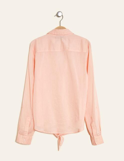 chemise en coton à nouer rose clair