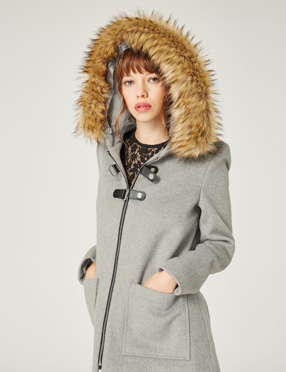 manteau avec brides gris chin femme jennyfer. Black Bedroom Furniture Sets. Home Design Ideas