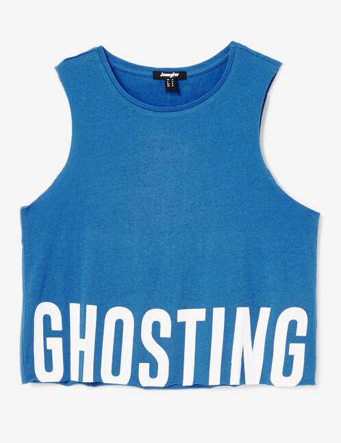 """Blue """"ghosting"""" tank top"""