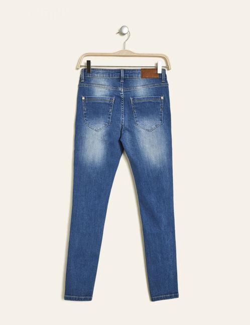Medium blue distressed skinny jeans