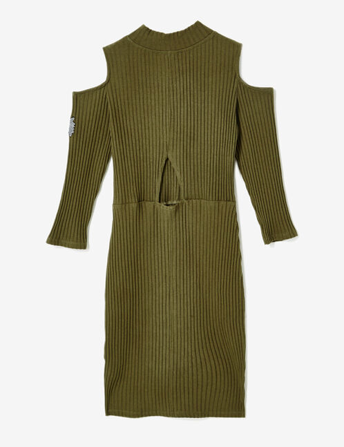 robe épaules ajourées kaki