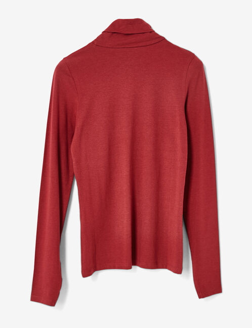 Basic burgundy polo neck top