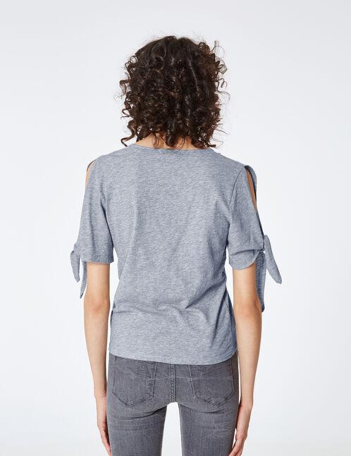 tee-shirt manches à nouer gris chiné