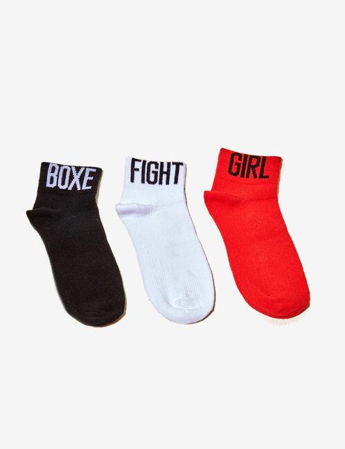 chaussettes esprit sport noires, blanches et rouges