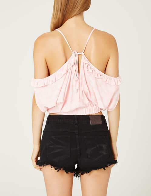 blouse épaules dénudées rose clair