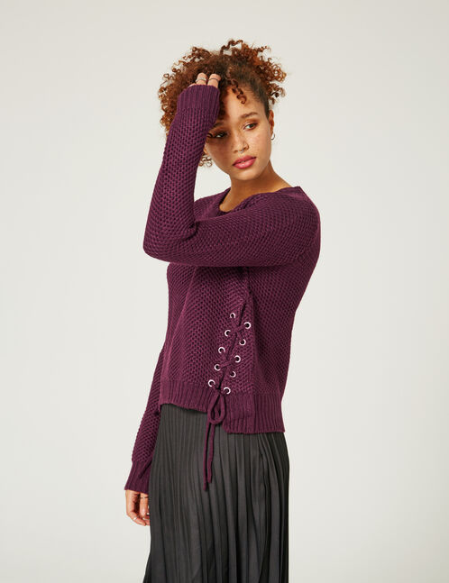 Purple textured jumper with lacing detail