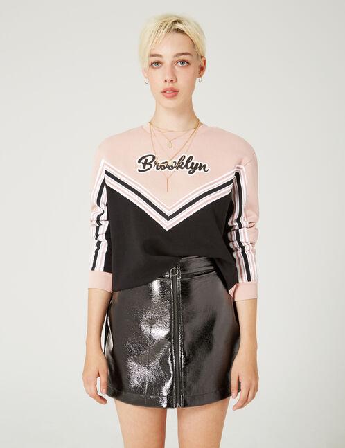 jupe vinyle zipée noire