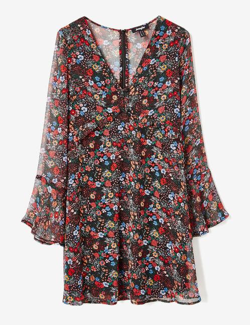 robe fleurie avec volants noire