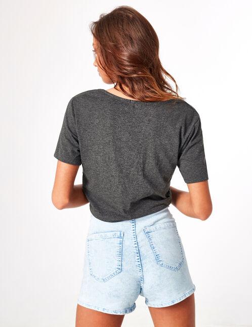 tee-shirt boutonné à nouer gris anthracite chiné
