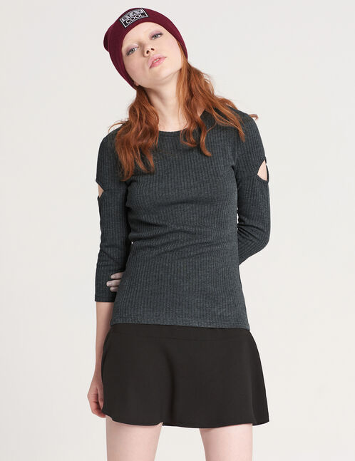 Charcoal grey T-shirt with cut-out detail