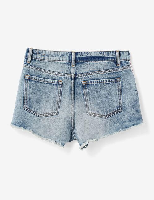 short avec bandes rayées medium blue délavé