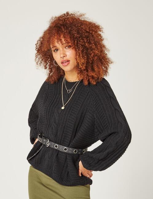 pull maille texturée noir