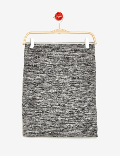 Charcoal grey marl skirt with pleat detail