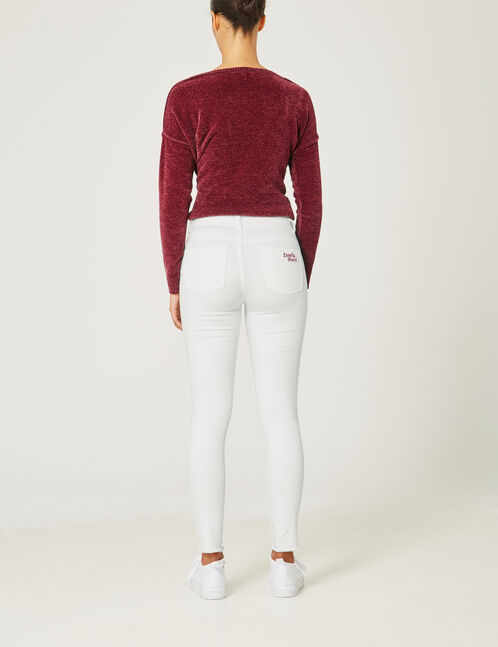 Cream trousers with patch detail