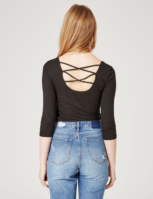 Black top with strappy back detail
