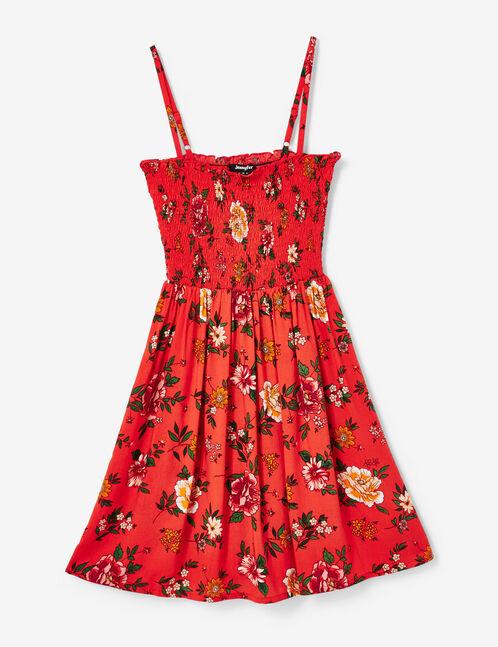 robe fleurie smockée rouge