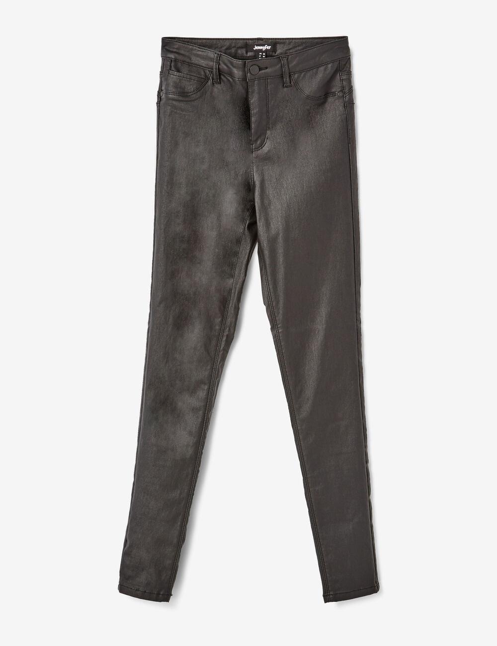 pantalon enduit taille haute noir femme jennyfer. Black Bedroom Furniture Sets. Home Design Ideas