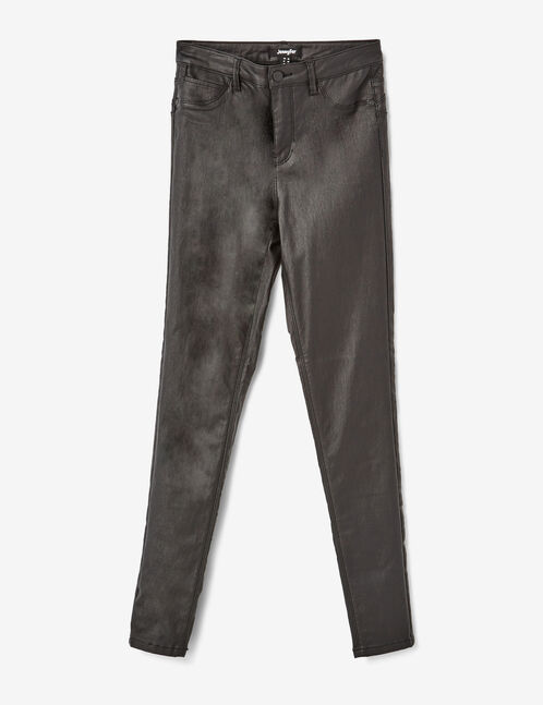 Black high-waisted coated trousers