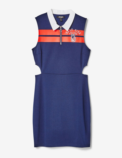 robes ouvertures côtés bleu marine