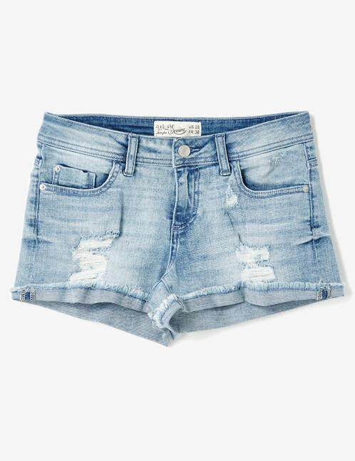 short en jean revers frangés bleu clair
