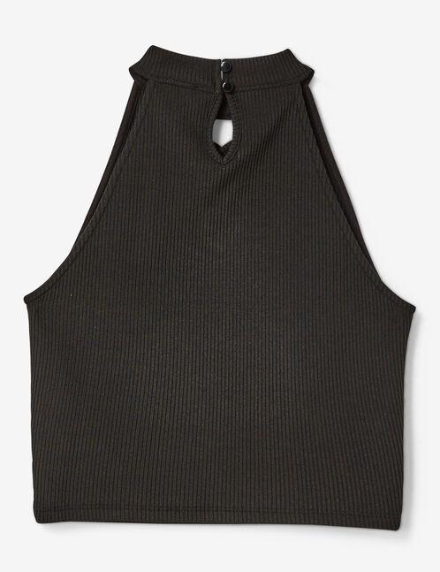Black crop top with lacing detail