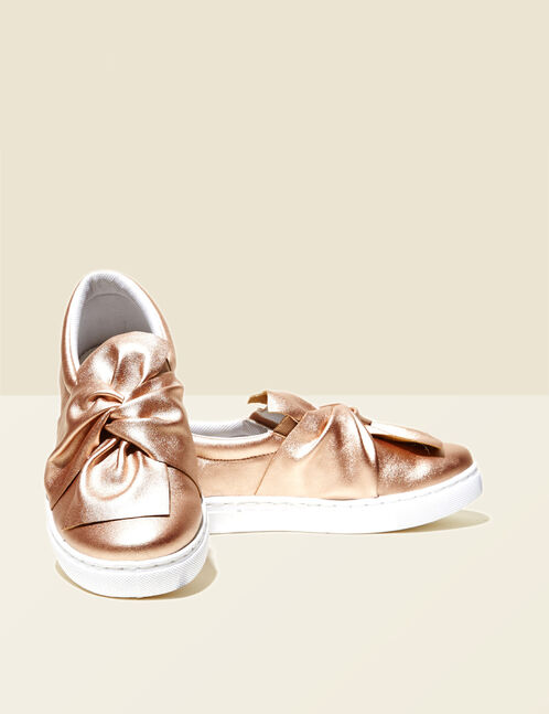 Shiny pink bow-effect slip-ons