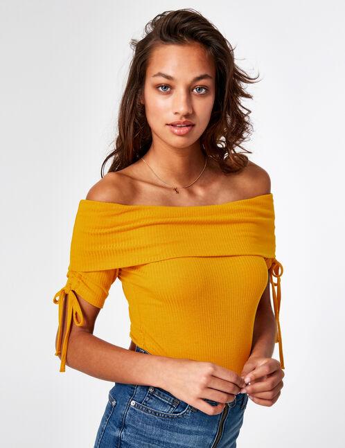 Ochre off-the-shoulder bodysuit