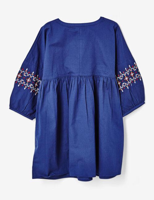 robe évasée brodée bleu marine