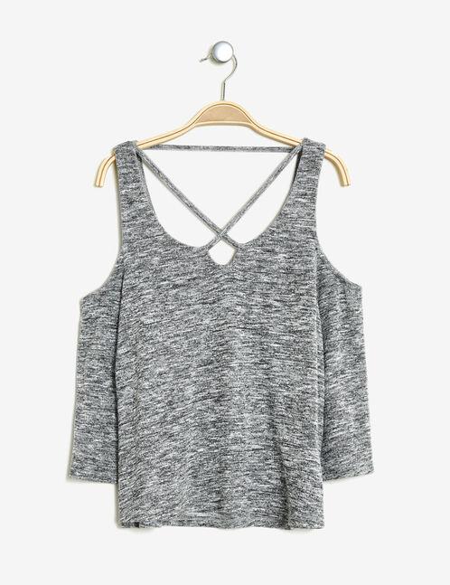 tee shirt épaules ajourées gris chiné