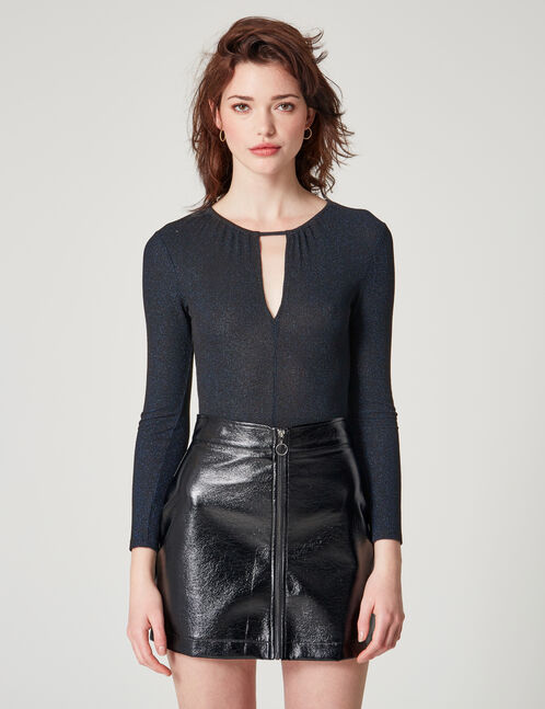 Black and blue bodysuit with lurex detail