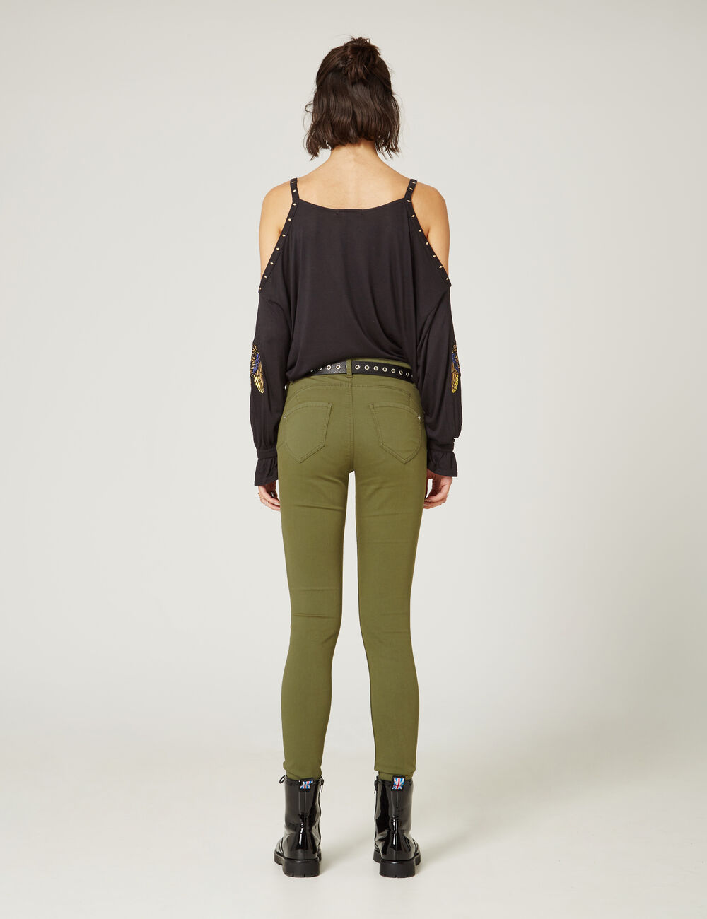 pantalon skinny push up kaki femme jennyfer. Black Bedroom Furniture Sets. Home Design Ideas