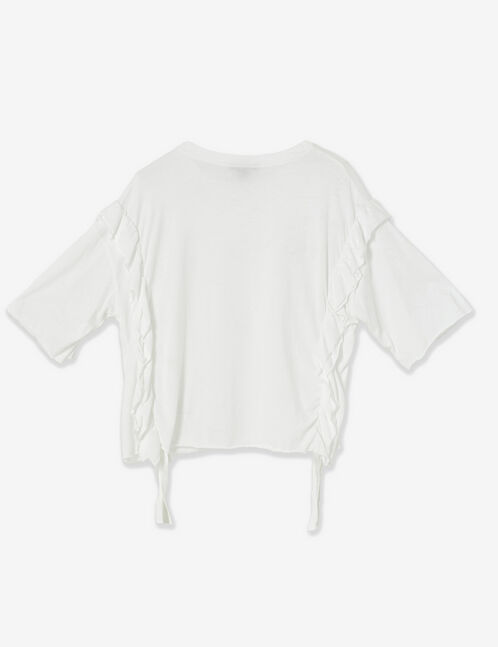 tee-shirt volants et perles blanc