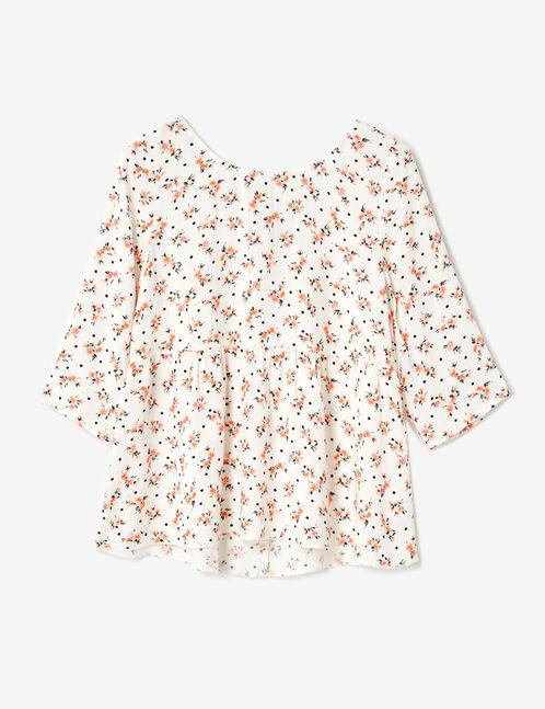 blouse fleuri avec laçage écrue
