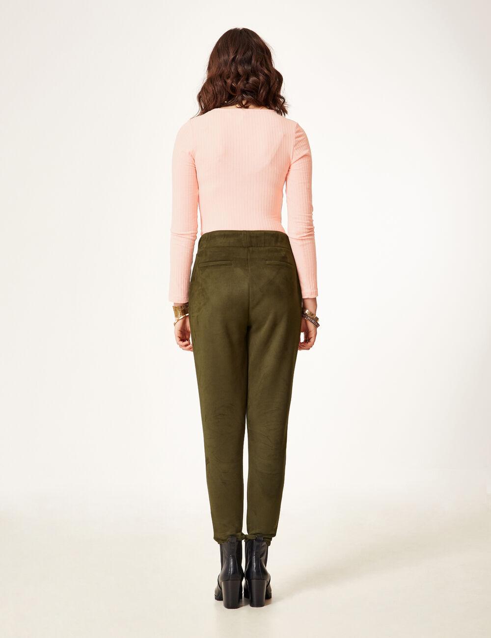 pantalon en su dine kaki femme jennyfer. Black Bedroom Furniture Sets. Home Design Ideas