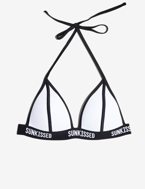 White and black bikini top with text design detail