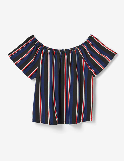 Black, navy blue, red and cream striped off-the-shoulder top
