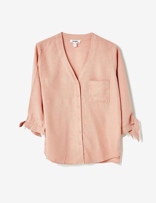 chemise col v  rose clair