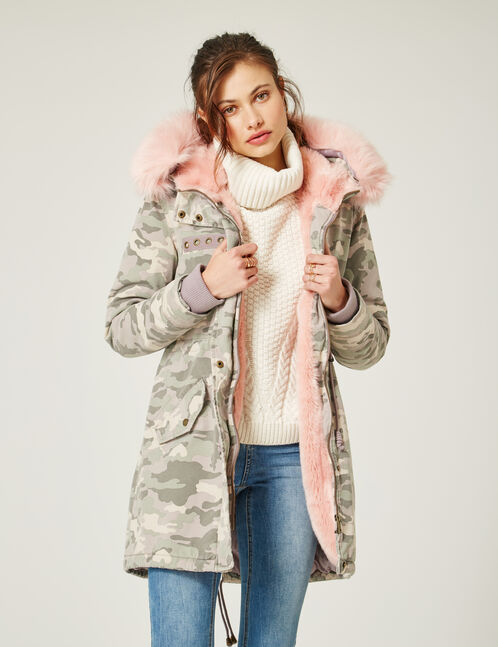 Long light pink camouflage parka
