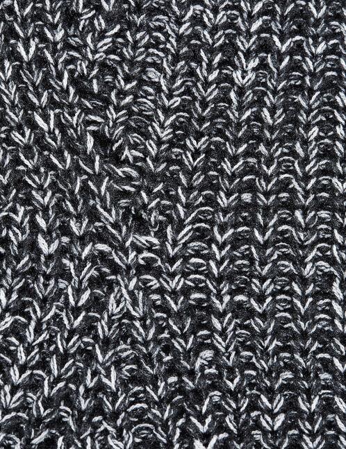 Black and cream textured jumper with openwork detail