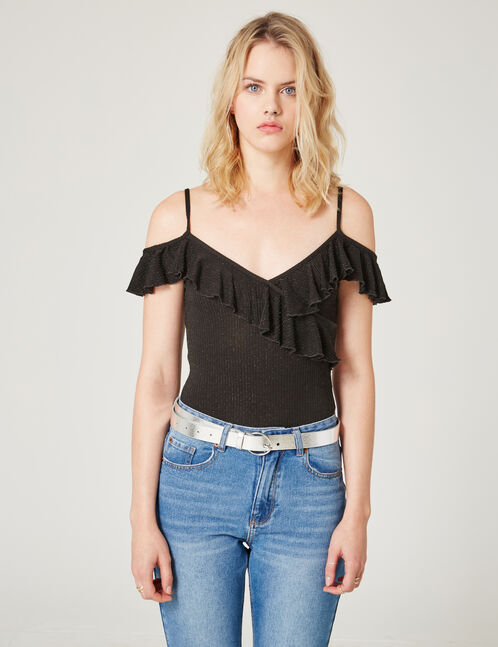 Black bodysuit with lurex and frill details
