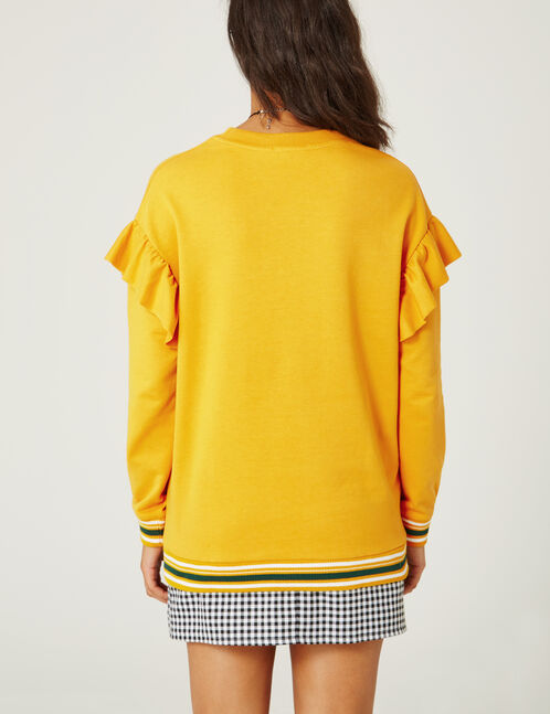Long ochre and green sweatshirt with frill detail