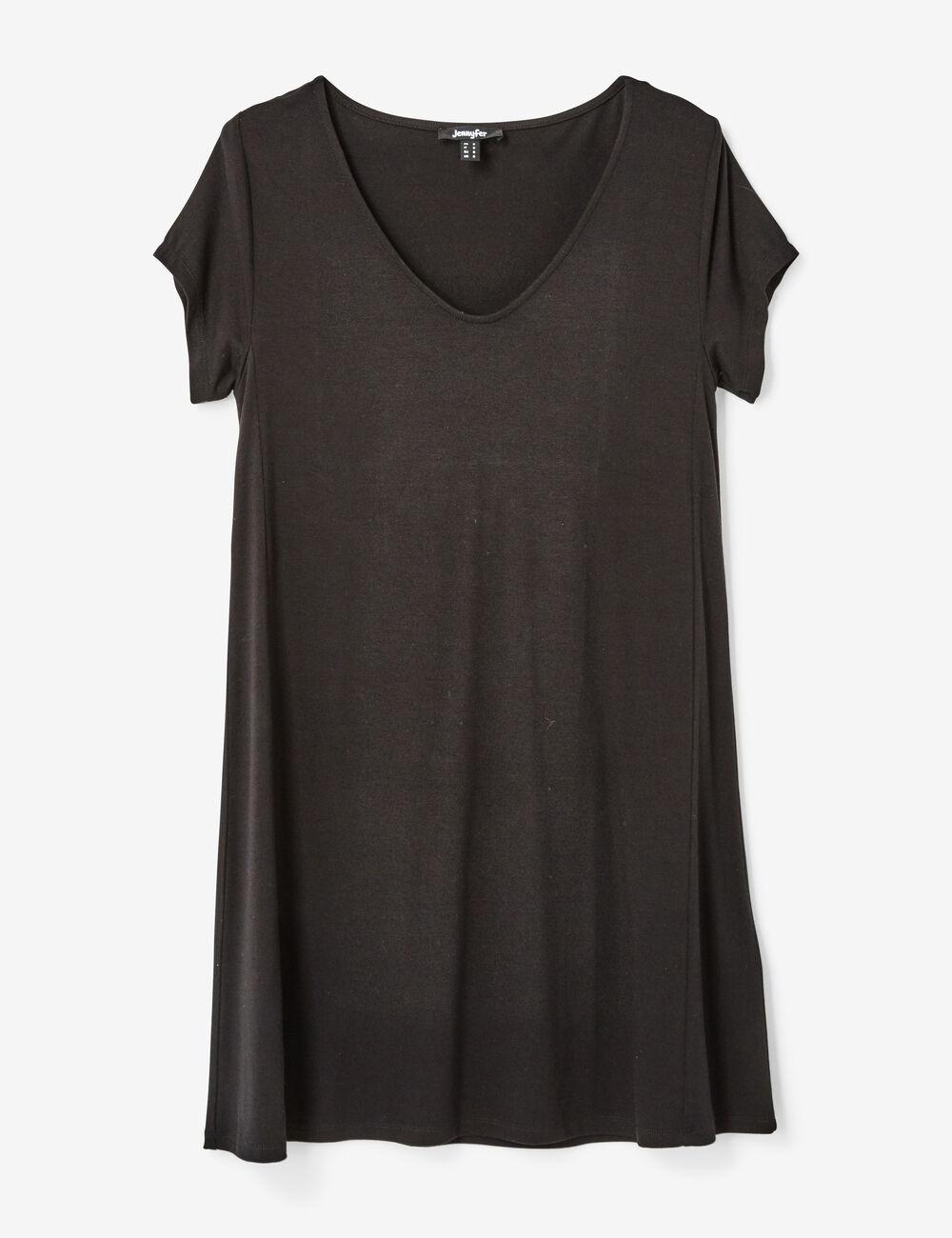 robe tee shirt col v noire femme jennyfer. Black Bedroom Furniture Sets. Home Design Ideas