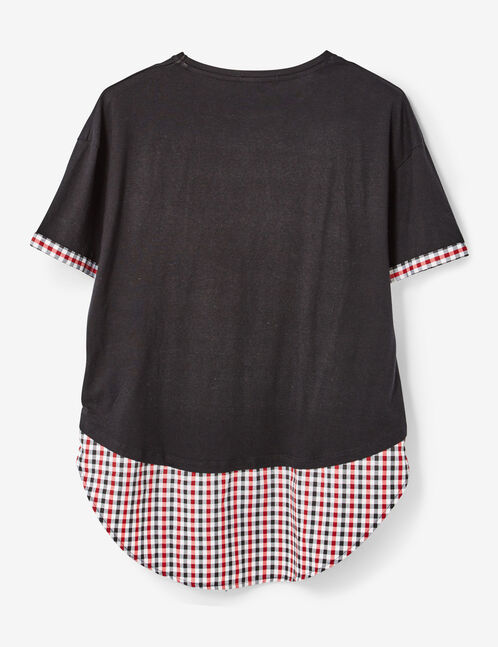 Black T-shirt with gingham panel detail
