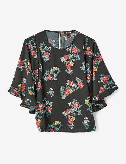 Black floral blouse