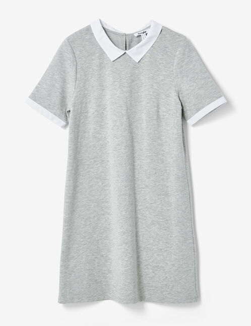 Grey marl dress with white collar detail