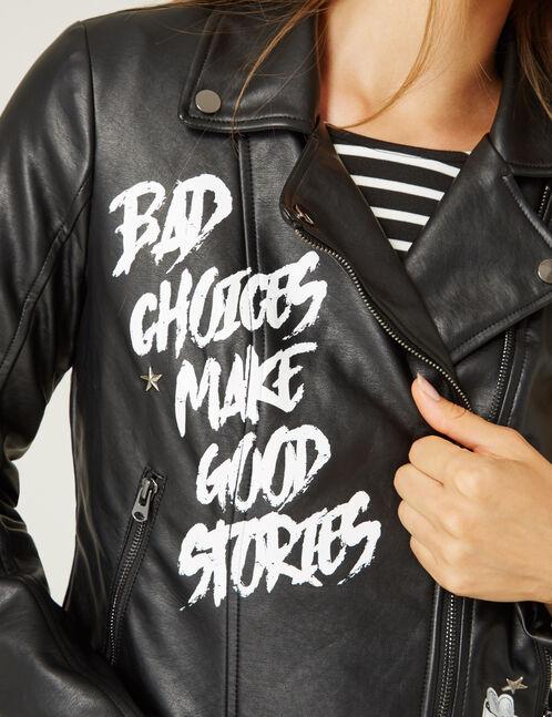 veste biker à messages noire